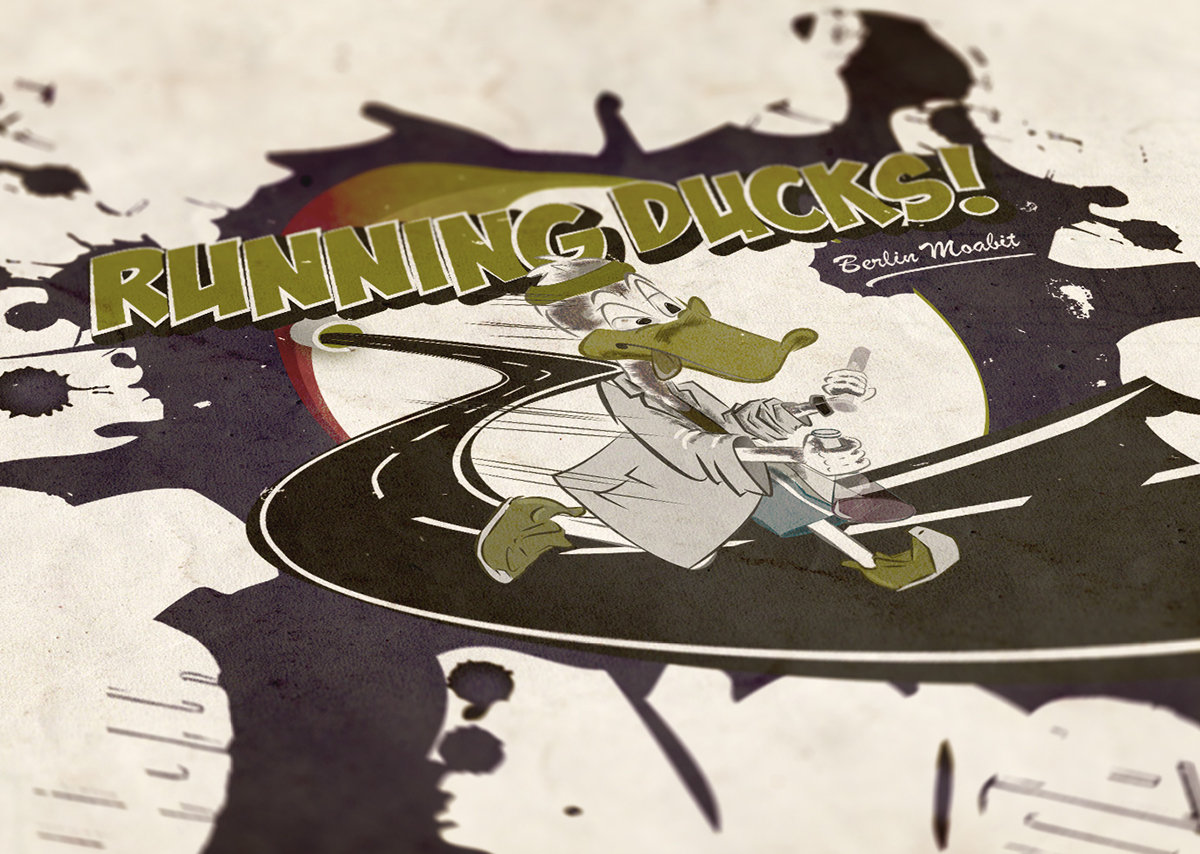 Illustration Running Ducks 03